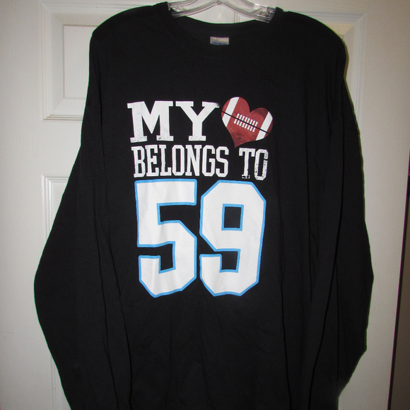 detailed look e3ac7 a1a1f Luke Kuechly 59 Carolina Panthers Heart Shirt 2XL